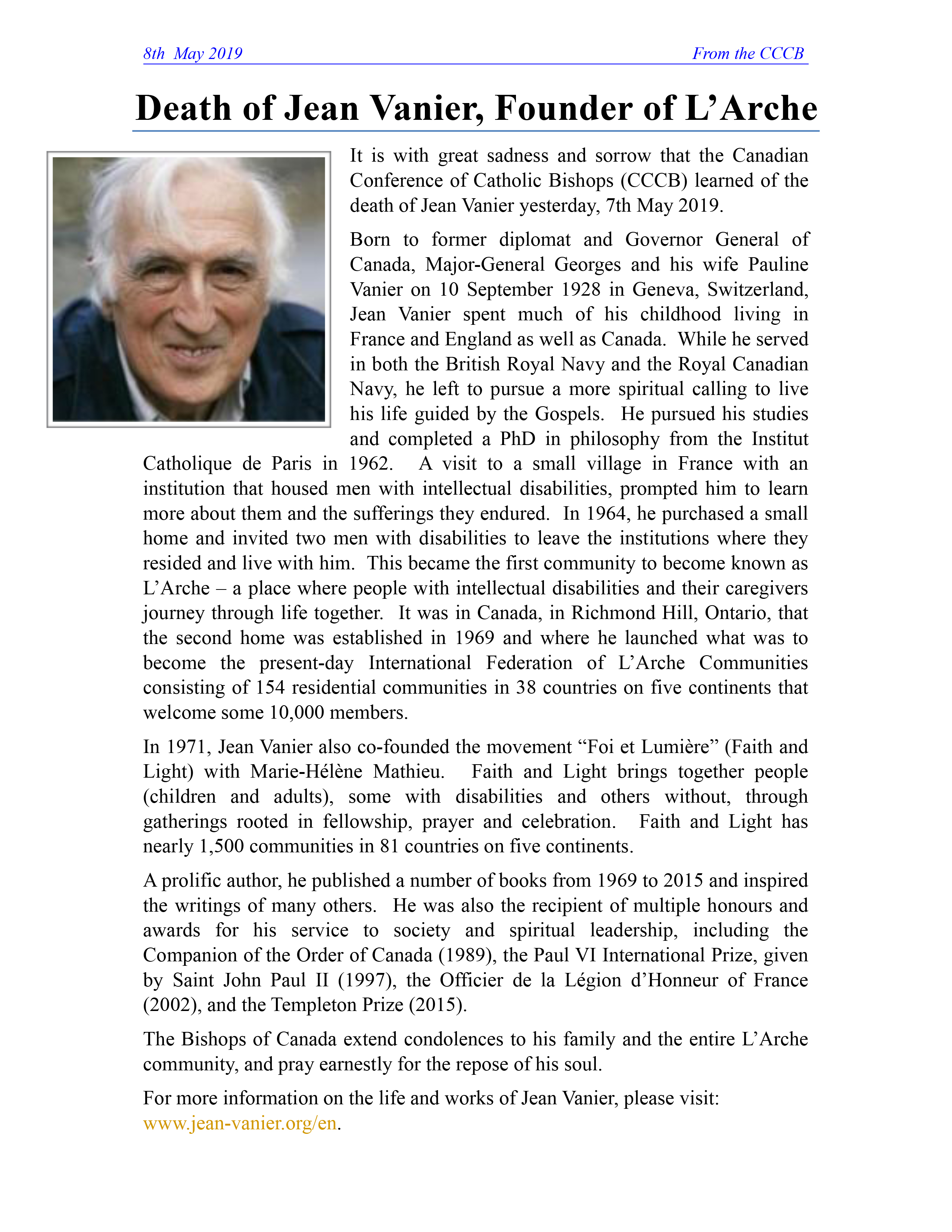 Death Of Jean Vanier
