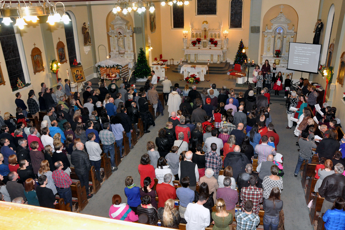 The Start Of The Christmas Eve Family Mass At Holy Family Church.